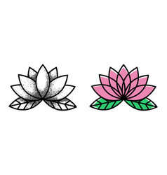 lotos tattoo flower tattoo traditional black dot vector image
