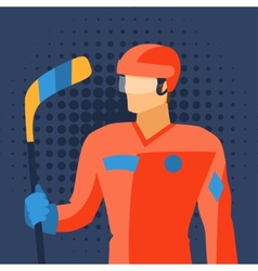 Man in hockey gear stands with stick vector image