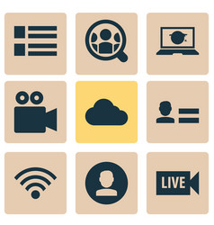 media icons set with personal data video vector image