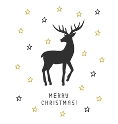 Merry Christmas card with hand drawn vintage deer vector image
