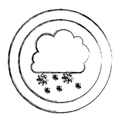 Monochrome blurred circular frame with cumulus of vector