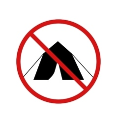 No tent camping forbidden sign on white vector image