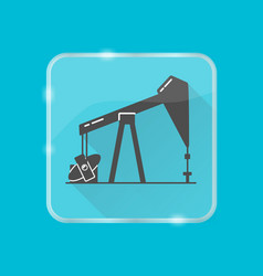 Oil rig silhouette icon in flat style on vector
