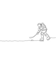 one single line drawing spaceman astronaut vector image