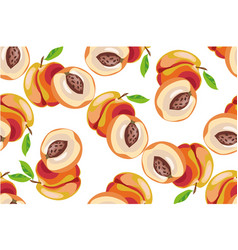 peach seamless pattern on white background vector image vector image