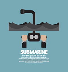 Periscope Of Submarine Under The Ocean vector