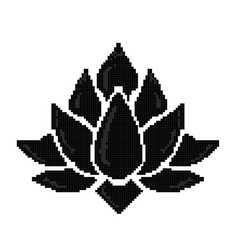 pixel art lotus icon isolated vector image