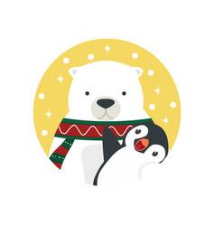 Polar bear hug penguin vector