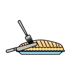 Pumpkin pie with fork knife food thanksgiving day vector