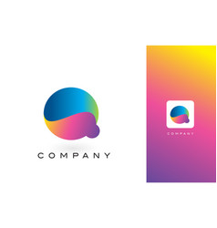 Q logo letter with rainbow vibrant beautiful vector