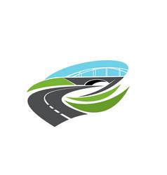 Roadway turn motorway under bridge icon vector