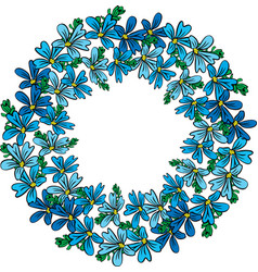 Round wreath of blue flowers and green branches vector