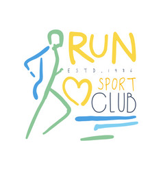 Run sport club logo symbol colorful hand drawn vector