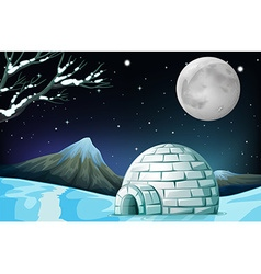 Scene with igloo on fullmoon night vector
