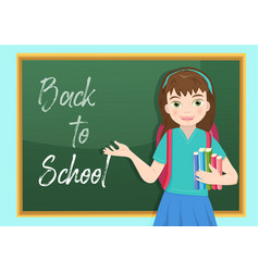 schoolgirl standing in front of a blackboard and vector image