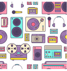 Seamless pattern with retro analog music player vector