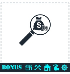 Search money icon flat vector