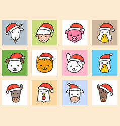 set animal face with santa hat filled icon vector image