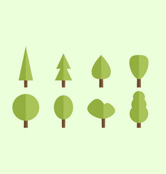 set of flat trees vector image