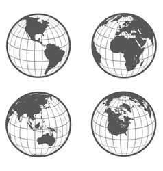set of globes with different continents earth vector image