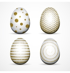 Set of white Easter eggs with gold glitter vector image