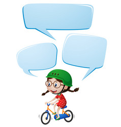 Speech bubble template with girl riding bike vector
