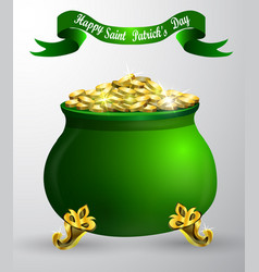 st patrick s day symbol green pot vector image