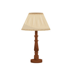 Table or bedside lamp with beige fabric shade and vector