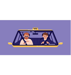 taxi driver and bearded man sitting in front seat vector image