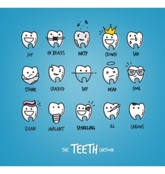 Teeth happy characters vector