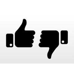 Thumbs up and down like dislike icons for social vector image