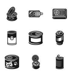 Tin can icon set simple style vector