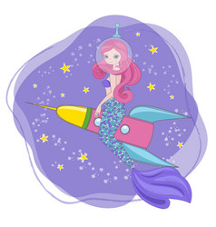 Traveling mermaid space princess vector
