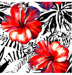 tropical hibiscus watercolor and graphic exotic vector image
