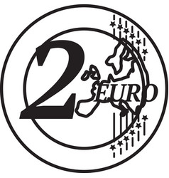 Two european union euro coin vector
