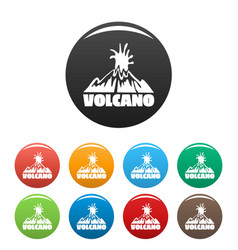 Volcano explosion icons set color vector
