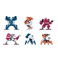 war robots cartoon battle machine super hero in vector image