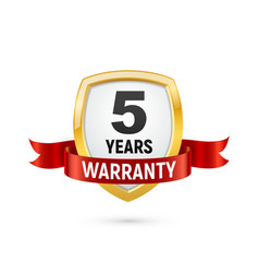 Warranty 5 years isolated label on white vector