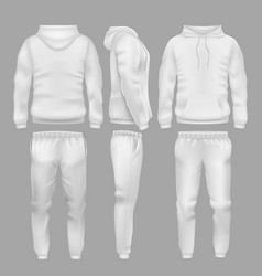 White hooded sweatshirt with sports trousers vector
