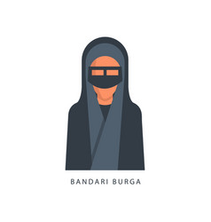 woman in muslim bandari burga headdress female vector image