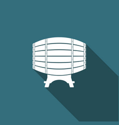 wooden barrel on rack icon with long shadow vector image
