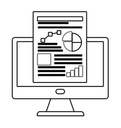 Workflow computer and infographic design vector