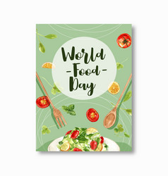 World food day poster design with salad spoon vector