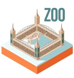 Zoo snow leopard isometric icon vector