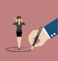 business woman stand inside a circle painted by vector image