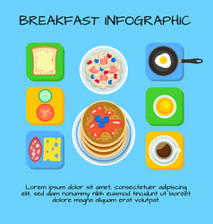 colorful breakfast food infographic concept vector image