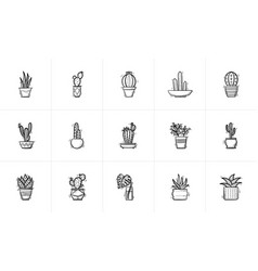 house potted plants and flowers sketch icon set vector image