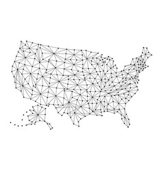 map of united states of america from polygonal vector image