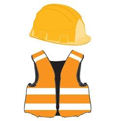Orange building helmet and vest vector image vector image