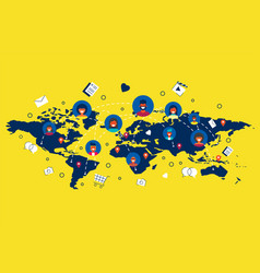 people connected on social media around the world vector image